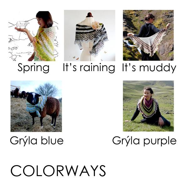 Icelandic Spring Shawl KIT COLORWAYS