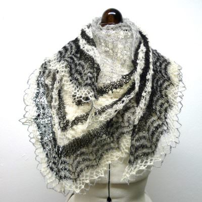Icelandic Spring Shawl: Love Story yarn in Natural grey, Natural Black and White